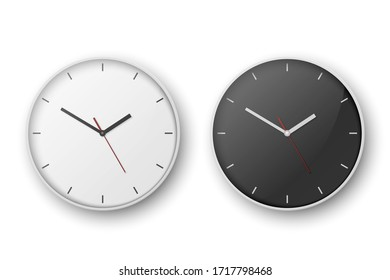 Vector 3d Realistic Simple White Round Wall Office Clock Set. White and Black Dial. Closeup Isolated on White Background. Design Template, Mock-up for Branding, Advertise. Front or Top View