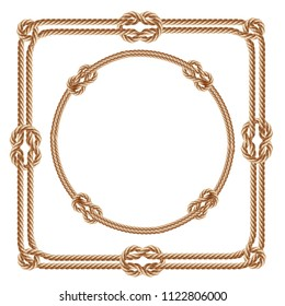 Vector 3d realistic square and round frames, made from fiber ropes. Jute or hemp twisted cords with loops and knots, isolated on white background. Decorative elements with brown packthread.