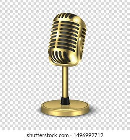 Vector 3d Realistic Steel Golden Retro Concert Vocal Microphone with Stand Icon Closeup Isolated on Transparent Background. Design Template of Vintage Karaoke Metal Mic. Front view