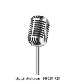 Vector 3d Realistic Steel Retro Concert Vocal Microphone Icon Closeup Isolated on White Background. Design Template of Vintage Karaoke Metal Mic. Front view