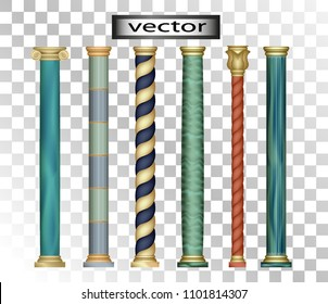 Vector 3D, realistic stone illustrations with gold columns, Roman, Oriental, classic, modern and vintage styles, set of different mineral isolated on transparent background.