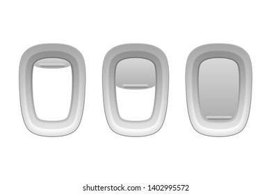 Vector 3d Realistic Three White Plastic Portholes of Airplane with Open and Closed Window Shades. Icon set Closeup. View From Aircraft Flight Window. Travel and Tourism Concept