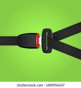 Vector 3d Realistic Unblocked Passenger Seat Belt Clopeup Isolated on Green Backgroud. Design Template. Top View. Transport Safety Concept