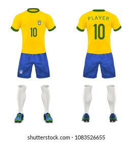 Vector 3d realistic uniform of Brasil football player. Yellow t-shirt, blue shorts for playing soccer. Athletic clothes, mock up for championship.
