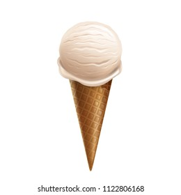 Vector 3d realistic vanilla ice cream in waffle cone isolated on white background. Sweet summer dessert with sundae taste. Milk natural frozen product. Design element for package or ad poster, banner