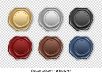 Vector 3d Realistic Vintage Retro Stamp Wax Seal Icon Set Closeup Isolated on Transparent Background. Design Template of Sealing Wax or Stamps, Labels for Certificate, Document, Letter and Envelope
