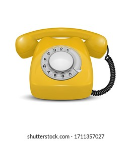 Vector 3d Realistic Vintage Retro Old Yellow Telephone Icon Closeup Isolated on White Background. Design Template, Call Center Support Concept. Front View