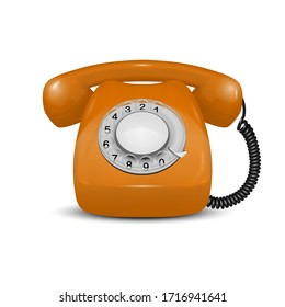 Vector 3d Realistic Vintage Retro Old Orange Telephone Icon Closeup Isolated on White Background. Design Template, Call Center Support Concept. Front View