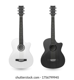 Vector 3d Realistic White and Black Classic Old Retro Acoustic Wooden Guitar Icon Set Closeup Isolated on Transparent Background. Design Templte, Mockup, Clipart. Musical Art Concept
