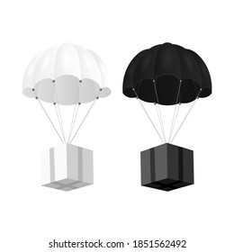 Vector 3d Realistic White, Black Parachute with Paper Cardboard Box Set Isolated on White. Design Template for Delivery Services, Post, E-Commerce, Sport Concept, Web Banner, Mockup. Front View