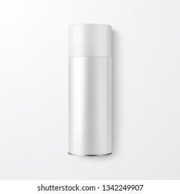 Vector 3d Realistic White Blank Spray Can, Spray Bottle Closeup Isolated on White Background. Design Template of Sprayer Can for Mock up, Package, Advertising, Hairspray, Deodorant. Top View