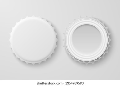 Vector 3d Realistic White Blank Beer Bottle Cap Set Closeup Isolated on White Background. Design Template for Mock up, Package, Advertising. Top and Bottom View