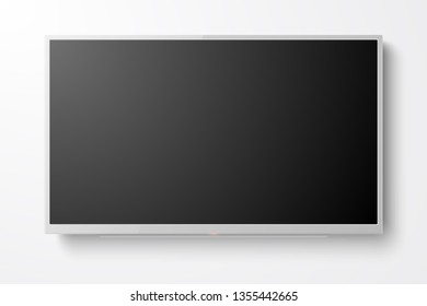 Vector 3d Realistic White Blank TV Screen. Modern LCD LED Panel Set Closeup Isolated on White Background. Design Template of Large Computer Monitor Display for Mockup