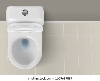 Vector 3d Realistic White Ceramic Toilet Closeup in the Bathroom, Toilet Room. Opened Toilet Bowl with Lid. Plumbing, Mockup, Design Template for Interior, Cleaning, Hygiene Concept. Top View