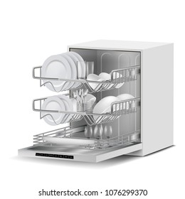 Vector 3d realistic white dishwasher machine with three metal racks, filled with clean plates, glasses, cups, cutlery, side view isolated on background. Modern household appliance for washing dishes