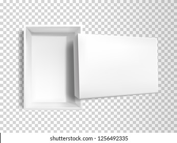 Vector 3d realistic white empty paper box with lid isolated on transparent background. Plastic rectangular container, top view. Mock-up for merchandise, cardboard product for brand. Blank packaging.