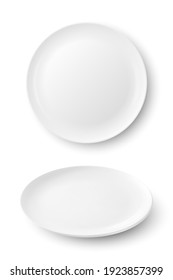 Vector 3d Realistic White Food Empty and Blank Porcelain Ceramic Plate Icon Set Closeup Isolated on White Background. Design Template, Mock up. Front and Top View