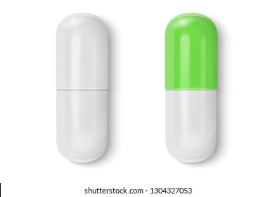 Vector 3d Realistic White and Green Medical Pill Icon Set Closeup Isolated on White Background. Design template of Pills, Capsules for graphics, Mockup. Medical and Healthcare Concept. Top View