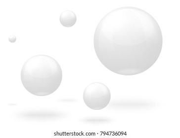 Vector 3D realistic white marble balls, flying in the air, isolated on white background.