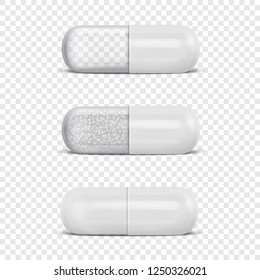 Vector 3d Realistic White Medical Pill Icon Set Closeup Isolated on Transparency Grid Background. Design Template of Pills, Capsules for Graphics, Mockup. Medical and Healthcare Concept. Front View