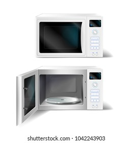 Vector 3d realistic white microwave oven with empty glass plate inside, with open and close door, front view isolated on background. Modern household appliance to heat, defrost and cooking food