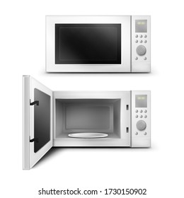 Vector 3d realistic white microwave oven with open and close door, with empty glass plate inside. Modern household appliance to cooking, defrosting and heating food. Front view isolated background.