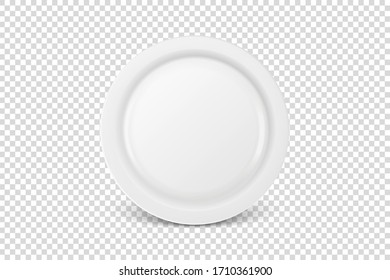 Vector 3d Realistic White Porcelain, Plastic or Paper Disposable Food Dish Plate Icon Closeup Isolated. Front View. Design template, Mock up for Graphics, Branding Identity, Printing, etc