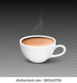 Vector 3d Realistic White Porcelain Ceramic Mug, Hot Milk Coffee, Foam and Smoke Set Isolated. Espresso, Capuccino, Latte. Stock Vector Illustration. Design Template. Front View