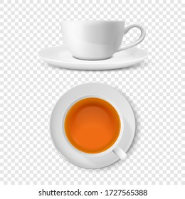 Vector 3d Realistic White Porclean, Ceramic Tea Cup, Mug Set with Black or Red Tea Closeup Isolated on Transparent Background. Design Template, Clipart. Top and Front View
