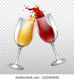 Vector 3d realistic wineglasses with drops and splashes. Red and white wine in transparent glasses isolated on background. Cups with beverage, alcohol drink. Design of grape product for poster, banner