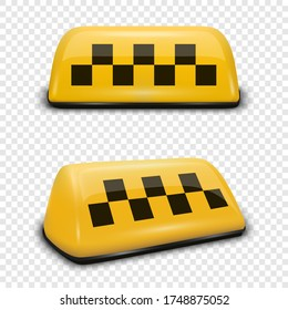 Vector 3d Realistic Yellow French Taxi Sign Icon Set Closeup Isolated on Transparent Background. Design template for Taxi Service, Mockup. Front and Side View