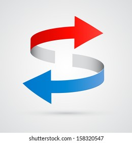 vector 3d red and blue arrows