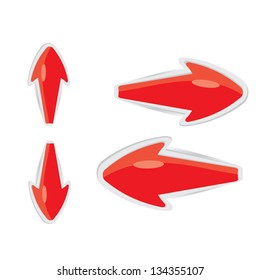 vector 3d red glossy glass arrows. red glossy arrows icon set. collection of arrows for design.