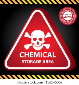 Vector : 3D Red Glossy Style Triangle Caution Plate For Safety Present By Chemical Storage Area With Skull Sign in Dark Background
