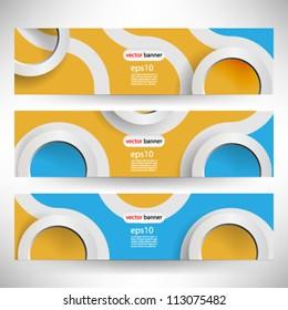 Vector 3D retro banner header template - eps10