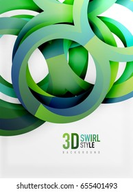Vector 3d rings and swirls design background