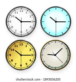 Vector 3d round simple office silver clock with dial and gold wall clock in four views close-up isolated on white background. Design template, layout for branding, advertising. View from above.
