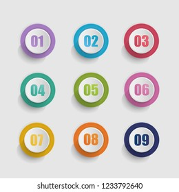 Vector 3D set of round buttons with number.