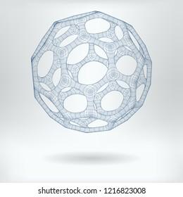 Vector 3D Structure Hexagonal Fullerene Molecule Concept Icon -  Nanoparticles Scientific Drawing