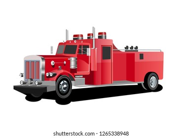 Vector 3d style illustration of red fire truck vector.