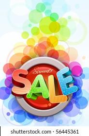 Vector 3d summer sale poster design template.