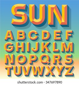 Vector 3D summer simple bold beveled alphabet with shadow. Multicolored version.