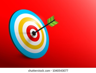 Vector 3d Target - Bullseye with Arrow - Dart on Red Background. Business Success Symbol.