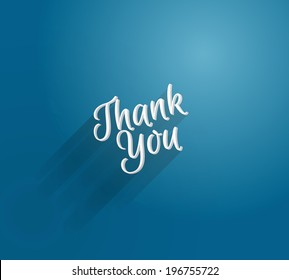 Vector 3d type blue thank you card