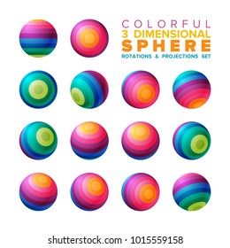 Vector 3d vibrant color striped sphere rotations and projections set
