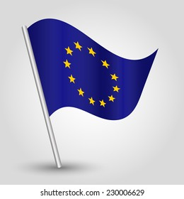 vector 3d waving eu flag on pole - national symbol of european union with inclined metal stick