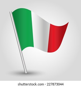 vector 3d waving italic flag on pole - national symbol of Italy with inclined metal stick