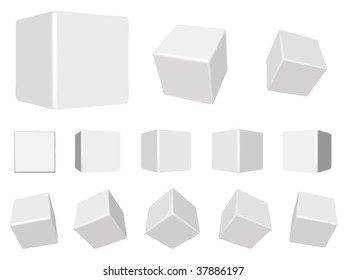 vector 3d white cubes