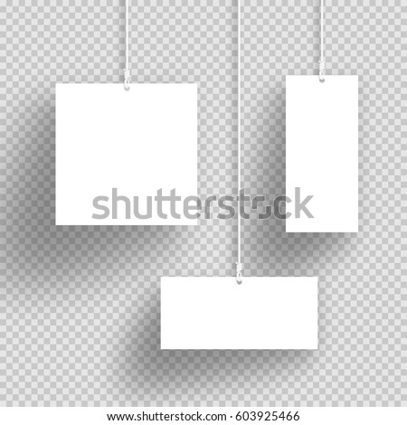 Vector 3 D White Hanging Frames Transparent Stock Vector (Royalty ...