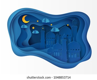 Vector 3D white paper mosque. Ramadan Kareem greeting card with arabic origami mosque, waves, clouds, stars, moon. Holy month of muslim. Islamic ramadan celebration vector background
